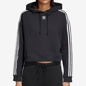 Adidas Cropped Cotton Three-Stripe Hoodie